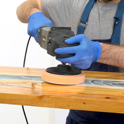 Using a Power Polisher to Polish a Resin River Table